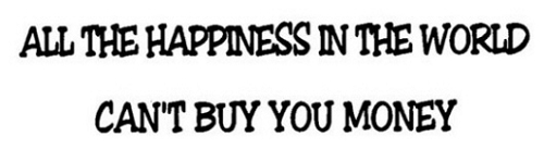 ALL THE HAPPINESS IN THE WORLD CAN'T BUY YOU MONEY HELMET STICKER