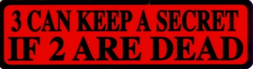 3 CAN KEEP A SECRET IF 2 ARE DEAD HELMET STICKER