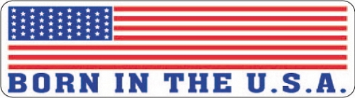 AMERICAN FLAG BORN IN THE U.S.A. HELMET STICKER