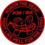 POW/MIA Honor The Dead Fight Like Hell For The Living (Round) Motorcycle Helmet Sticker