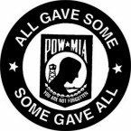 POW/MIA ALL GAVE SOME SOME GAVE ALL (ROUND) HELMET STICKER