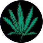 POT LEAF (ROUND) HELMET STICKER