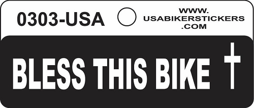 BLESS THIS BIKE HELMET STICKER
