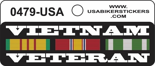 VIETNAM VETERAN TOUR RIBBONS HELMET STICKER