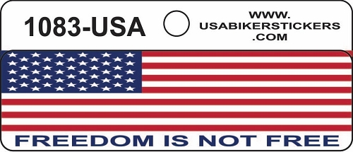 AMERICAN FLAG FREEDOM IS NOT FREE HELMET STICKER