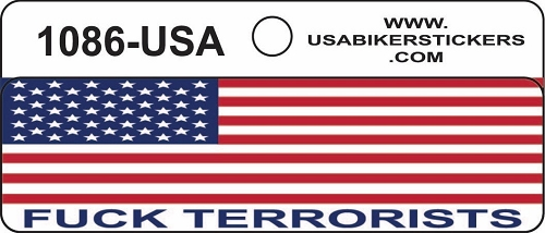American Flag Fuck Terrorists Motorcycle Helmet Sticker