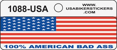 American Flag 100% American Bas Ass Motorcycle Helmet Sticker