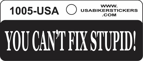 You Can't Fix Stupid Motorcycle Helmet Sticker